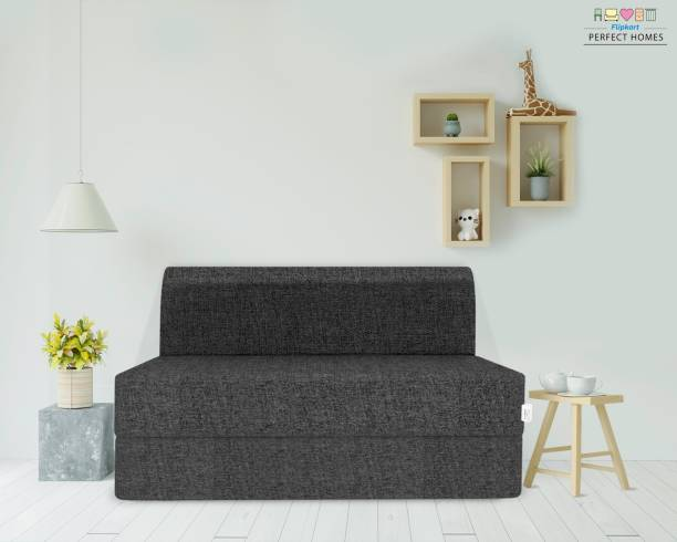 Flipkart Perfect Homes Exotica Two Seater Sofa Cum Bed - Perfect for Guests - Double Sofa Bed Jute Fabric Washable Cover | 4' X 6' Double Sofa Bed