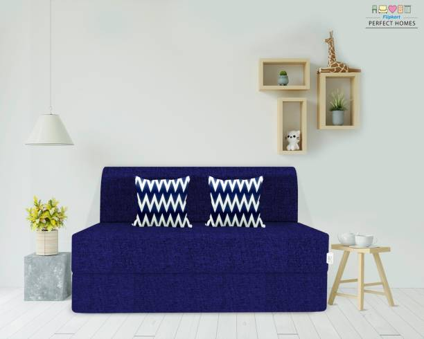 Flipkart Perfect Homes Janice One Seater Sofa Cum Bed - Perfect for Guests - Single Sofa Bed Jute Fabric Washable Cover - with 2 Cushions   3' X 6' Single Sofa Bed