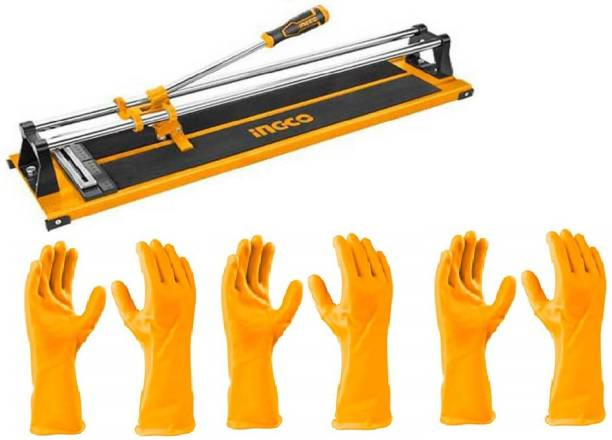 INGCO HTC04600 Industrial Tile Cutter Max Cutting Length: 600 mm, Max Cutting Thickness: 12mm with free 3 Pair of PVC Gloves (Size: L) (HGVP02) Handheld Tile Cutter