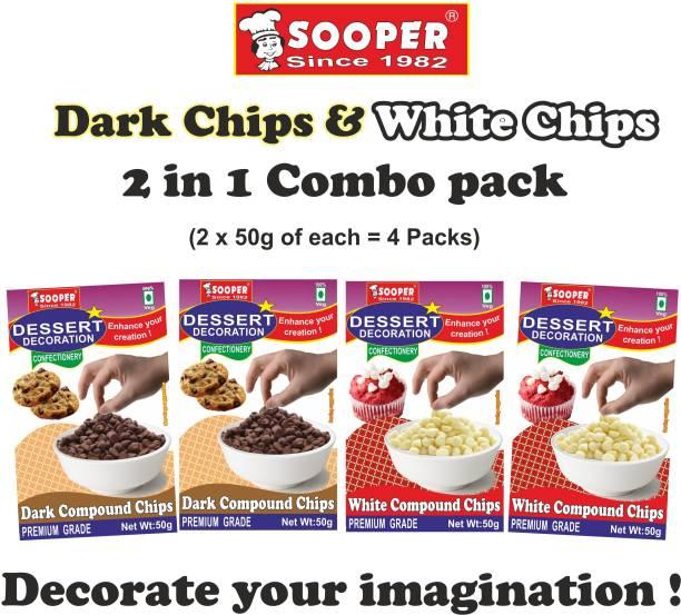 SOOPER DARK CHOCO CHIPS 2x50g + WHITE CHOCO CHIPS 2x50g Chips