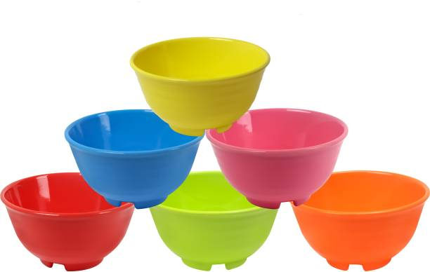 ZIDO (Pack of 6) Exclusive A Grade Heavy Quality Multipurpose Six Round Shape Snacks Bowls for Serving All Type of Snacks Items Melamine Serving Bowl
