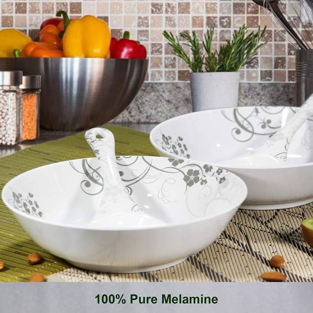 iVeo 100% Pure Melamine Serving Bowl and Spoon Set NSC Melamine Serving Bowl