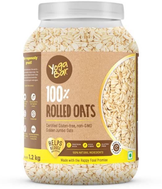 Yogabar Super Oats, 100% Rolled Oats 1.2kg | Premium Golden Rolled Oats, Gluten free Oats with High Fibre, 100% Whole grain, Non GMO, No Added Sugar | Ideal Breakfast for Weight Loss