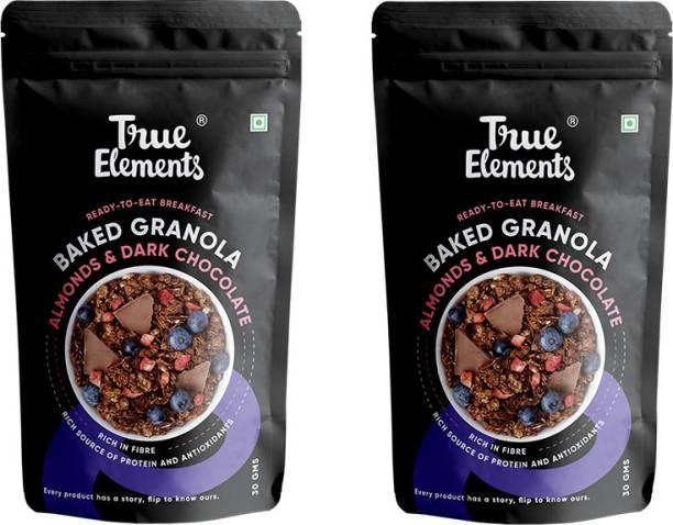 True Elements Dark Chocolate Granola   Healthy Breakfast, Snacks, Cereal, Dessert   Super Saver