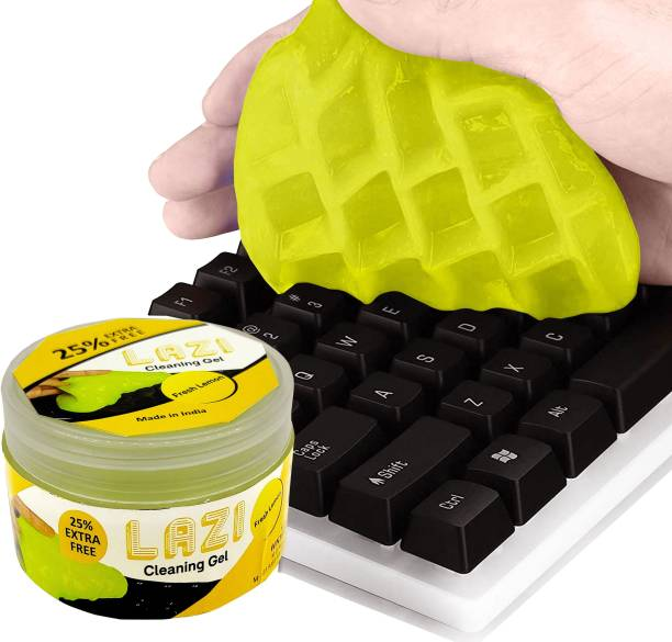 LAZI Lemon Scented Multipurpose Computer PC Laptop Keyboard Remote Dust Cleaning Cleaner Kit Slime Gel Jelly for Keyboard Computer Mobile Remote Car Interior Ac Vent Dashboard Electronics Gadgets Dust cleaning cleaner gel for Computers, Laptops, Mobiles, Gaming
