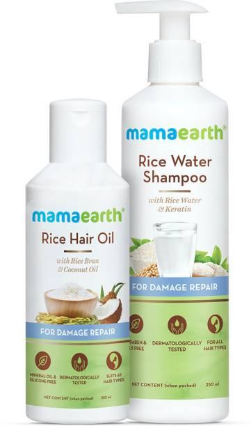 MamaEarth Damage Repair Hair Combo - Rice Water Shampoo 250ml + Rice Water Hair Oil 150ml