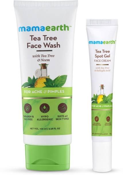 MamaEarth Active Acne Combo - Tea Tree Spot Gel 15gm + Tea Tree Face Wash 100ml