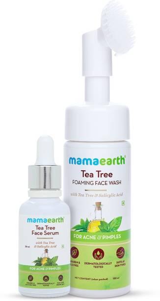MamaEarth Tea Tree Clear Skin Combo - Tea Tree Foaming Face Wash 150ml + Tea Tree Face Serum 30ml