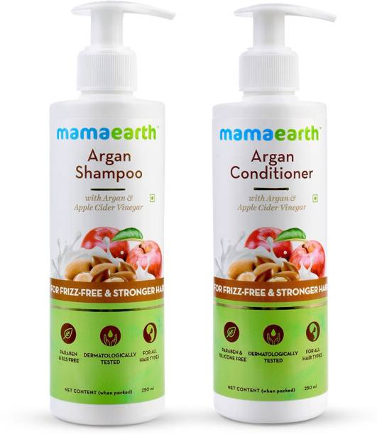 MamaEarth Cleanse & Condition Frizzy Hair Combo - Argan & Apple Cider Vinegar Shampoo 250ml + Conditioner 250ml