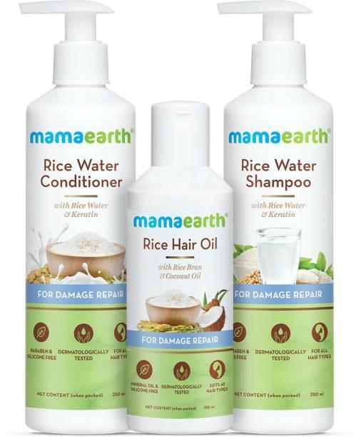 MamaEarth Hair Damage Repair Kit - Rice Water Shampoo 250ml + Rice Water Conditioner 250ml + Rice Water Hair Oil 150ml