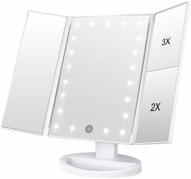 Jiyan Enterprise Makeup Mirror Vanity Mirror with Lights, 1X/2X/3X Magnification, Lighted Makeup Mirror, 3-fold Makeup Mirror, Portable LED Makeup Mirror