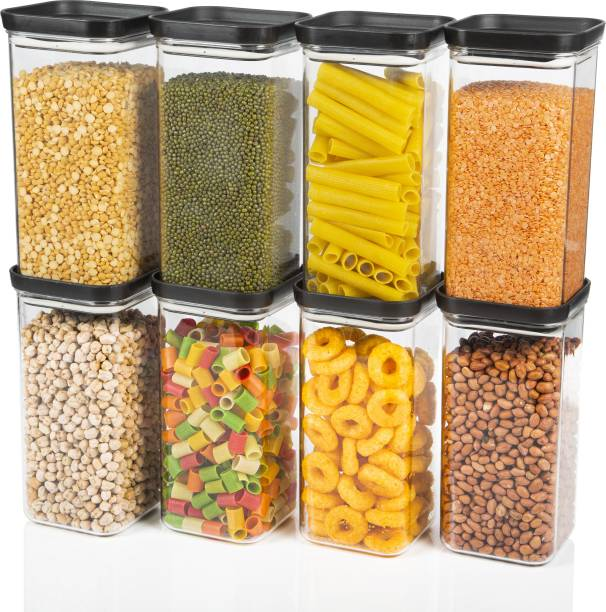 Flipkart SmartBuy PUSH CAP Air Tight Kitchen Storage Containers Plastic Container Dibba Boxes Combo Set  - 1500 ml Plastic Grocery Container