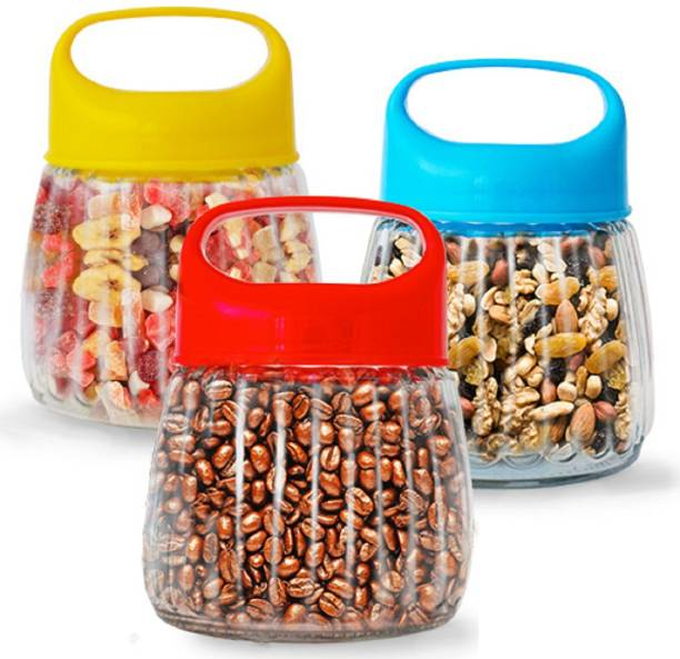 Coco Kitchen Air Tight Glass Storage Jars & Containers with Coloured Lid for Kitchen /Glass Jars/ Snacks, Pickle Grocery, Cookie Jar - 500 ml each- Set Of 3  - 500 ml Glass Cookie Jar