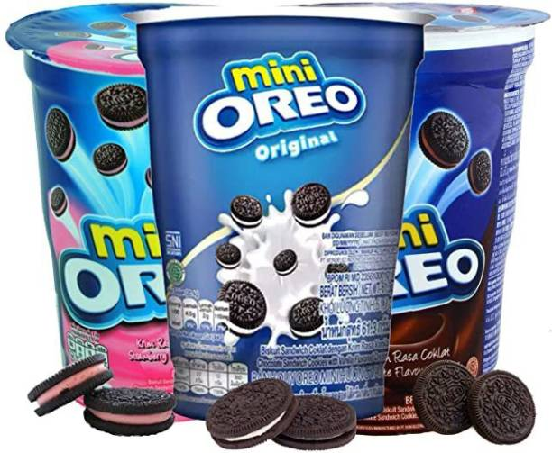 OREO Vanilla, Chocolate, Strawberry Flavoured Cream Cup, 3 x 61 g (Imported) (Pack of 3) Cookies