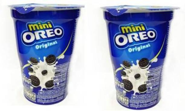 OREO Mini Cream Biscuit - Original Vanilla Flavor, 61.3g Cup (Imported) (Pack of 2) Cookies