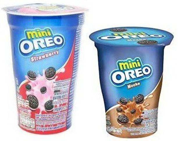 OREO Mini Cup Strawberry & Mocha Flavoured Cream Biscuits , 61gm (Imported) (Pack of 2) Cookies