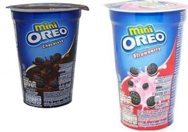 OREO Mini Cup Chocolate & Strawberry Flavoured Cream Biscuits , 61gm (Imported) (Pack of 2) Cookies
