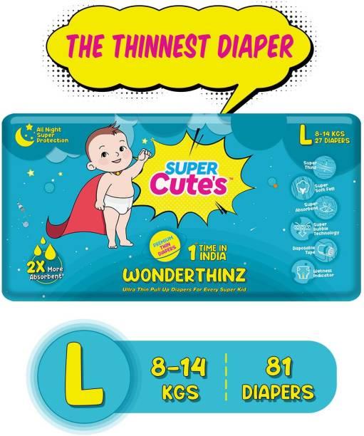 Super Cute's | WonderThinz | Pant Style Ultrathin Premium Diaper For 2X Absorption & Comfort - L