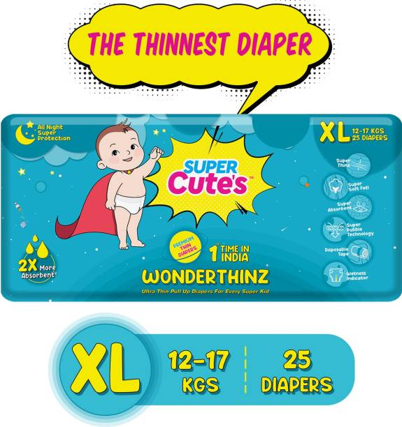 Super Cute's | WonderThinz | Pant Style Ultrathin Premium Diaper For 2X Absorption & Comfort - XL