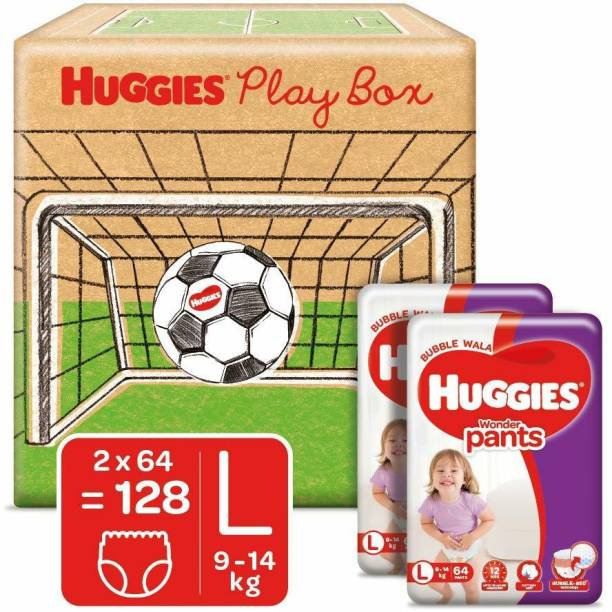 Huggies Play Box with Wonder Pants Monthly Pack with Bubble Bed Technology - L