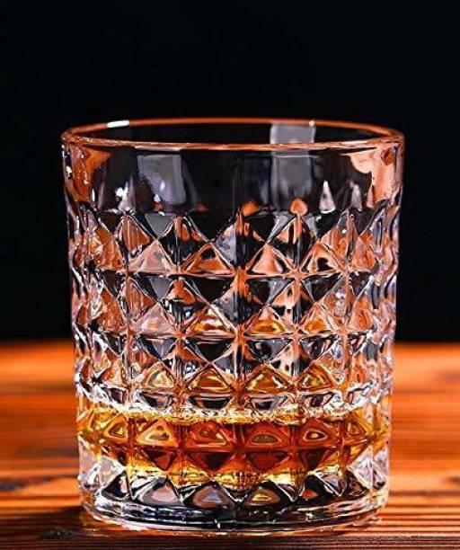 Shloka (Pack of 6) Diamond Premium Whiskey Glass Tumbler Set Imported Crystal Rocks Whisky Glass for Scotch, Vodka, Liquor, Juice, Water Drinks 300 ml Set of 6 Glass Glass Set
