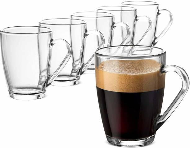 Glowway (Pack of 6) Crystal Clear Plane Glass Coffees with Solid Handle for Hot Beverages, Cold Drinks, Tea, Latte, Iced Tea, Espresso, Cappuccino, Hot Chocolates , Glass Coffee Mug Glass Set