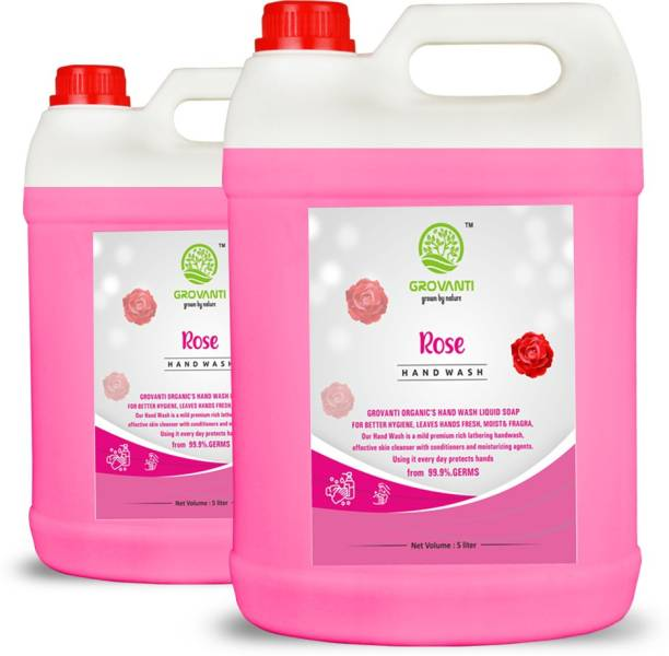 GROVANTI ORGANIC ROSE HANDWASH LIQUID 10LITER Hand Wash Can