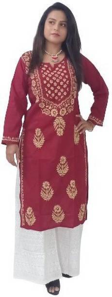 TEHZEEB HANDICRAFT Women Chikan Embroidery Straight Kurta