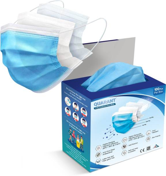 QUARANT 3 Ply Protective Face-Mask PFM Water Resistant Surgical Mask With Melt Blown Fabric Layer