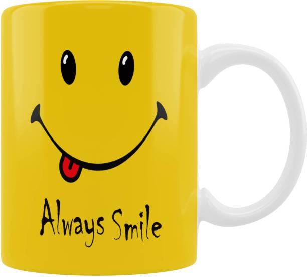 "iMPACTGift "" Always Smile "" Positive Motivate Msg Printed Cup Ceramic Coffee Mug"
