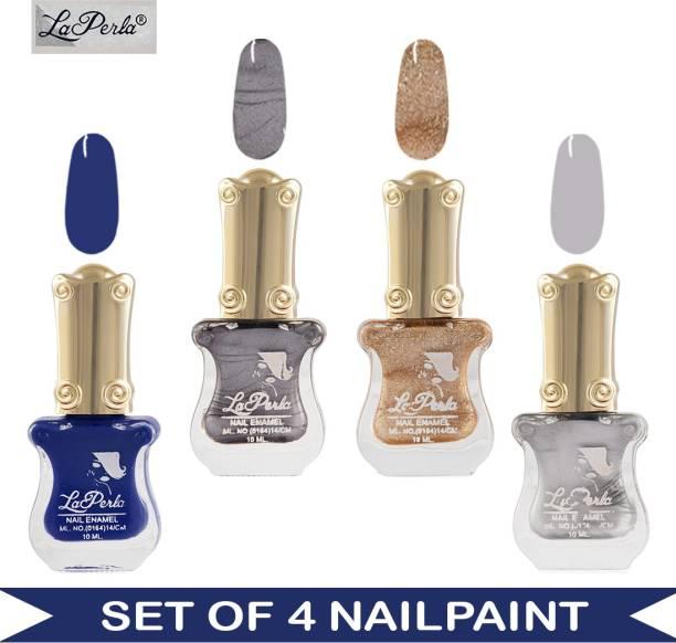 La Perla CH Piano Nail Paint - Blue Matte, Silver Matte, Golden Sand Finish, Silver Sand Finish - 10 ml Each Multicolor
