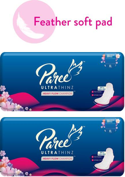 Paree Ultra Thinz 30 XL Soft Feel Sanitary Pads with Frangrance (Tri-Fold) (Combo of 2) Sanitary Pad