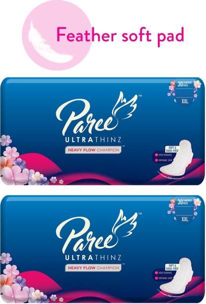 Paree Ultra Thinz 30 XXL Soft Feel Sanitary Pads with Frangrance (Tri-Fold) (Combo of 2) Sanitary Pad