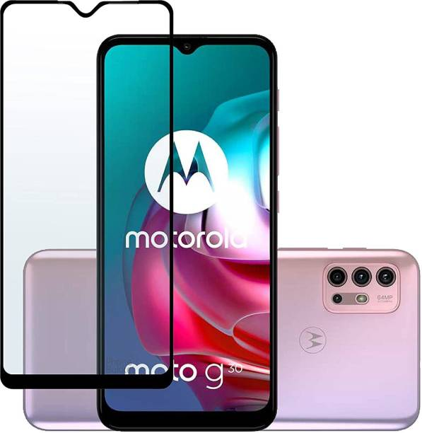 from comm Edge To Edge Tempered Glass for MOTO G30 Premium Shock Resistant 21D Temper Glass For All 21D Anti Explosion 9H Hardness, Ultra Clear, without scratch Tempered Glass