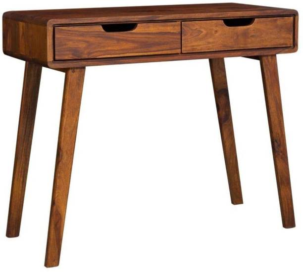 G Fine Furniture Wooden Console Table for Living Room | Small Writing Study Desk for Adults | Office Table with 2 Drawers Storage | Sheesham Wood, Honey Finish Solid Wood Console Table