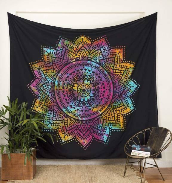 Heyrumbh Handicrafts Boho Bohemian Mandala Wall Hanging Home Decoration Hippie Bohemian Boho Ombre Tapestry Wall Decertation Tapestry (Multicolor, 54 X 84 Inches) Tapestry