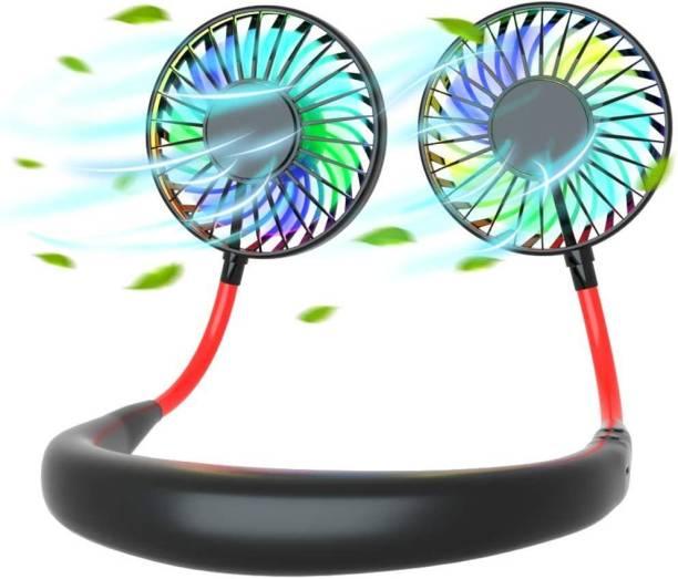 digilex Neckband Dual Head Fans Neck Mini FAN USB Fan Neckband Dual Head Fans for Kitchen Home Office Traveling Neck fan with light dl-neckfanlightblk Rechargeable Fan