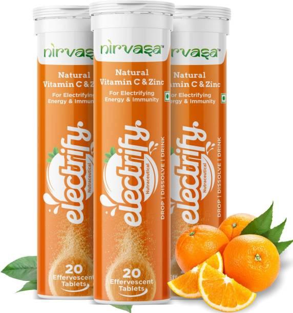 Nirvasa Vitamin C With Zinc Extra Charge Boost Immunity Orange Flavor Tablets