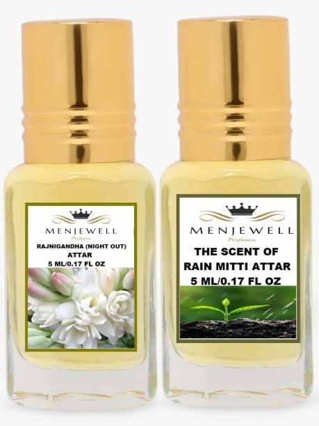 Menjewell Combo Pack Of 2PCs Attar(Rajnigandha 5ML,The Scent Of Rain Mitti 5ML)Attar Perfume Floral Attar