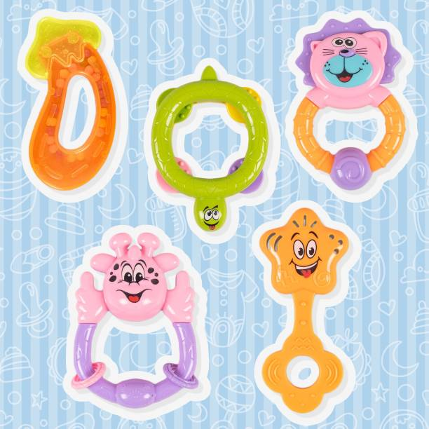 RATNA'S Happy Baby Rattle set 5 pieces for Infants.A perfect rattle set for Little hands.Non Toxic|Certified as per Indian Standards Rattle Rattle