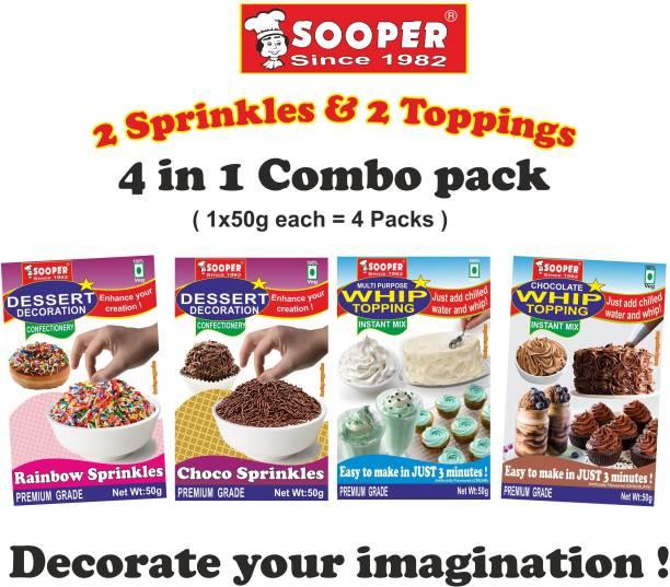 SOOPER RAINBOW SPRINKLES , CHOCO SPRINKLES , VANILLA WHIP TOP MIX & CHOCOLATE WHIP TOP MIX COMBO Sprinkles