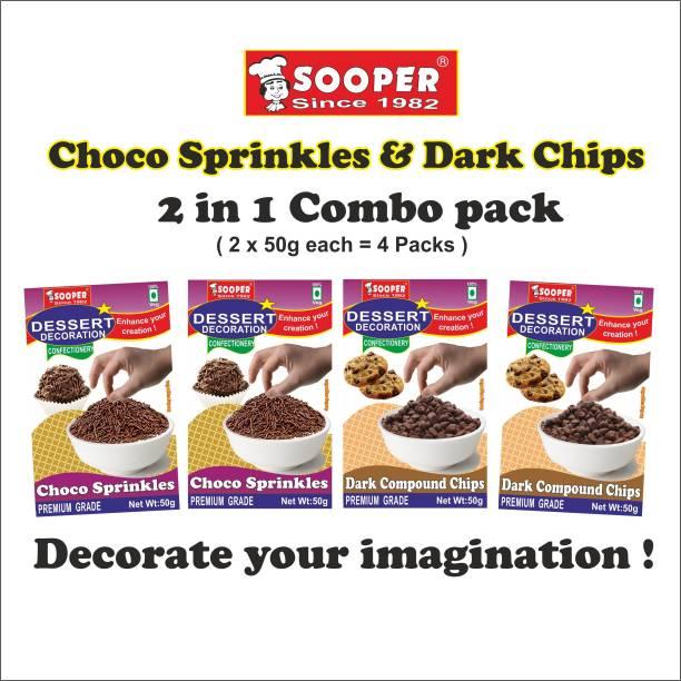SOOPER CHOCO SPRINKLES 2x50g & DARK CHOCO CHIPS 2x50g Sprinkles
