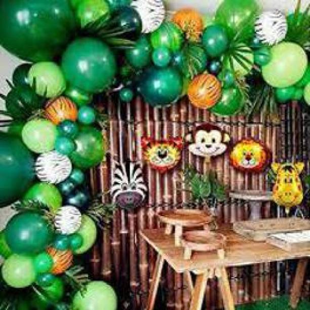 Nayugic Solid jungle theme party celebration with 100 balloons 5 animal faces 1 balloon arch 100 glue dot pack of 107 Balloon