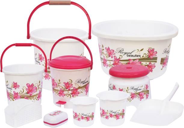 GALOOF Bathroom Set of 10 Pieces with Bucket, Mug, Patla , Dustbin ,Soap case ,Stool 20 L Plastic Bucket