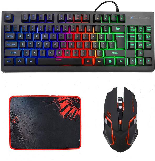 MFTEK RGB BLUEFINGER 87 Keys Gaming USB Wired Rainbow Keyboard and Backlit Mouse Combo Set for Laptop PC Computer Game and Work Combo Set Combo Set
