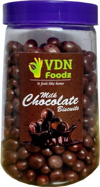 VDN FOODz Milk Cream Chocolate Biscuits | Milk Choco Biscuit Balls- Chocolate Munchies, Chocolate Balls for Cake Decoration (200 gm)