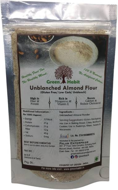 greenhabit Almond Meal aka Unblanched Almond Flour with Essential Fatty Acids, Almond Meal for Baking (Keto-Friendly) (1 kg)