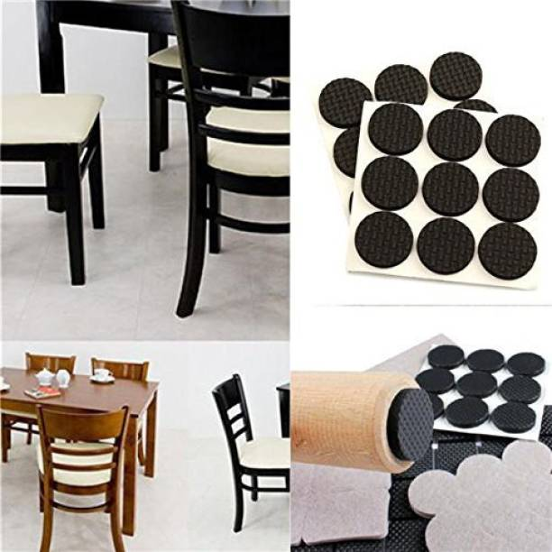 SMB ENTERPRISES Round Self Adhesive Rubber Pads for Furniture Floor Scratch Protection (Standard Size, Black)- 16 PCS Bed Legs