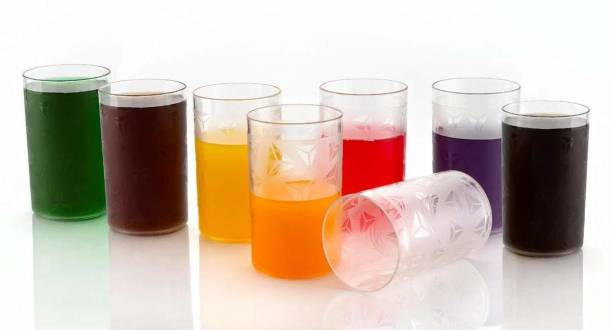 KARENA (Pack of 8) Unbreakable Diamond Design Juice Glass/Beer Glass/Wine Glass Set - 250 ML Glass Set