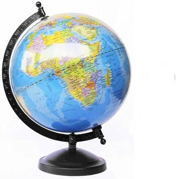"DawnRays Educational Political 5"" Diameter Globe with Steel Finish Arc and Base Globe for Home Globe for Office Globe for Kids Study and Décor/ World Globe/ Home Décor/ Office Déco table Political World Globe"